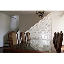 Mesa De Jantar C/ 6 Cadeiras Em Mogno Maciço E Tampo Vidro