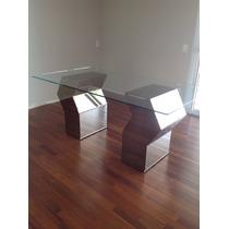 Mesa Retangular Tampo Vidro + 6 Cadeiras