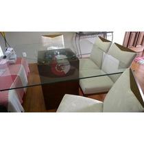 Mesa De Jantar - Vidro 1,40 X 1,40 - Base, 4 Cadeiras E 1 Ba