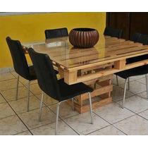 Mesa Pallet De Madeira 6 Lugares- Estilo E Sustentabilidade.