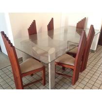 Mesa De Jantar Com Pés De Amianto E Tampo De Vidro