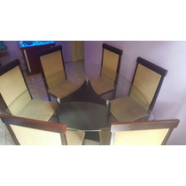 Mesa Com 6 Cadeiras E Tampo De Vidro
