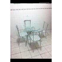 Mesa Quadrada Cromada & Vidro 4 Cadeiras