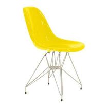 Cadeira Acrílica Charles Eames Dkr Torre Aço Cromado