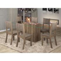 Sala De Jantar 6 Cadeiras Madeira Maciça - Carvalho E Canela