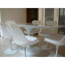Mesa Saarinen 1.60 X 0.90+6 Cadeiras Sem Braço Couro Natural