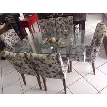 Mesa 6 Cadeiras - Tampo De Vidro