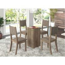 Sala De Jantar 4 Cadeiras Madeira Maciça Carvalho E Canela