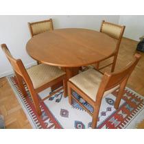 Mesa Redonda Com 4 Cadeiras- Madeira De Lei
