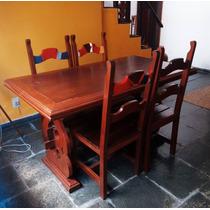 Mesa De Jantar De Madeira Com Seis Cadeiras