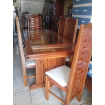 Mesa 6 Cadeira 100% Em Madeira Maciça Jatobá