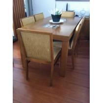 Mesa Madeira Jantar Tampo D Vidro C/ Pedrinhas + 6 Cadeiras