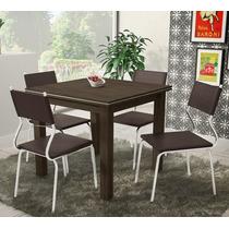 Conjunto De Mesa De Jantar Debora Com 4 Cadeiras Promocao