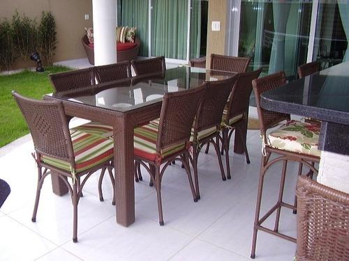mesa jardim fibra sintetica:Mesa Olanda Com 8 Cadeiras Em Aluminio Com Fibra Sintetica – R$ 3.160