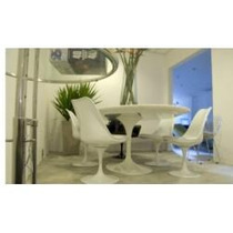 Mesa Saarinen Tampo Marmore B.es 80cm E 2 Cadeiras Sem Braço