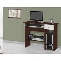 Mesa Escrivaninha Para Computador Cor Tabaco Com Branco