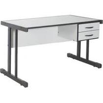 Mesa Para Escritório Reta Com 2 Gavetas 120 X 60 Pés Em Aço