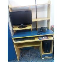 Mesa Para Computador Marfim Azul Multimídia