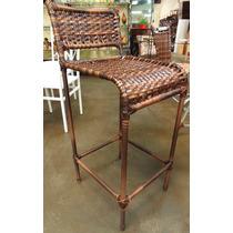 Cadeira Tipo Bistrô Em Junco E Ferro - 100 Cm De Altura