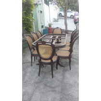 Mesa De Jantar + 8 Cadeiras Medalhão Duplo Tudo Jacarandá