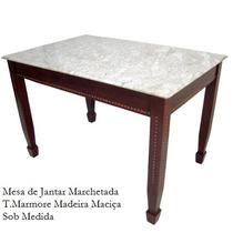 Mesa De Jantar Em Madeira Maciça Tampo De Marmore Impecavel