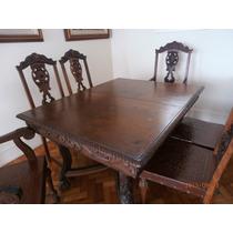 Mesa De Jantar Antiga Com 6 Cadeiras 2 De Braços.