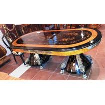 Mesa De Jantar Luis Xv Ornamentada Em Bronze Maciço Gigante