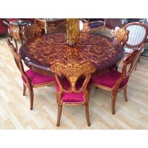 Mesa C/ Cadeiras Maciça Toda Em Marquiterrie Estilo Francesa