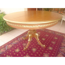 Mesa De Jantar Antiga Redonda Entalhada Com Etalhes Em Ouro