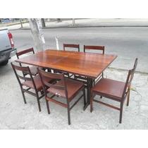 Mesa De Jantar + 6 Cadeiras Zalsupin Jacarandá Anos 50