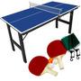 Mesa Ping Pong Tênis Mesa Junior #1003 + Kit Raquetes #kp-8