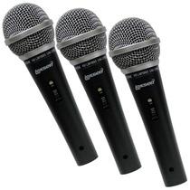 Kit Com 3 Microfones Dinamicos Lexsen Lm-1800