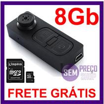 Botao Espiao Micro Camera Gravador Voz E Vídeo + Microsd 8gb