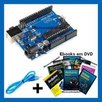Arduino Uno R3 Cabo+dvd Livros - Atualizado Ultima Versão