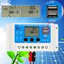 Lançamento Usb Controlador Lcd Carga 20a 12-24v Placa Solar