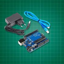 Placa Uno R3 + Fonte Dc + Cabo Usb Para Arduino