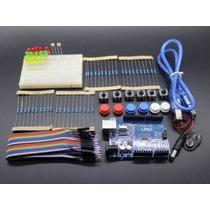 Placa Arduino Uno R3 + Kit Comp. + Placa 400pontos + Fonte