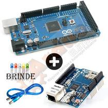 Arduino Mega 2560 R3 + Ethernet Shield W5100 Sd + Brinde