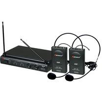 Kit Microfone Uhf Auricular Headset S/ Fio + Case + Fonte