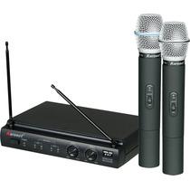 Kit Microfone Karsect Duplo Uhf Kru 302 Sem Fio + 2 Espumas