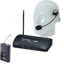 Microfone Headset Auricular Uhf Sem Fio + Case Karsect