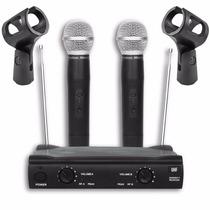 Microfone Sem Fio Uhf Profissional Duplo De Mão + Cachimbos