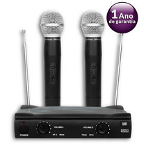 Microfone Duplo Uhf Sem Fio Profiss Promusic Padrão Shure