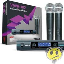 Microfone Sem Fio Duplo Vokal Vwr102 Digital Pro Case Kadu