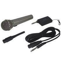 Microfone Com Fio E Sem Fio Wireless Para Dvd Pc Cabo P10