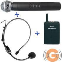 Microfone S/ Fio Duplo Leson Mão + Headset Auricular - Goias