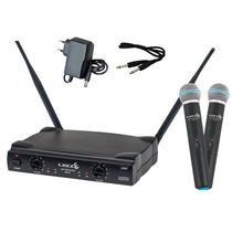Kit Microfone Duplo Sem Fio Uhf Lyco Uh02mm C/ 2 Espumas
