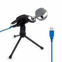 Microfone Condessador Profissional Usb - Youtuber! (prata)
