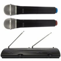Kit Microfone Duplo Sem Fio Csr-204 Vhf Ideal P/ Igreja