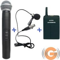 Microfone Sem Fio Duplo Leson Ls802 Ht-lt Mão + Lapela +case